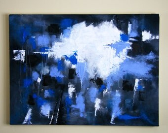 Blue, Black, White and Grey Abstract Painting