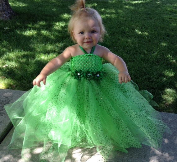 Sparkly Green Tutu Dress-Tinkerbell wedding pageant dress