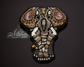 Embroidery bead elephant brooch. Pink rhodonite, orthoceras fossil