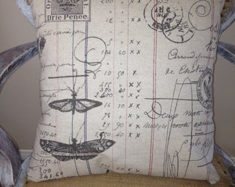 """SALE !! Neutral Spring Postal Pillow Cover 18"""""""