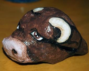 art, rock painted like an ox