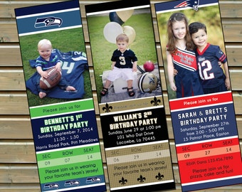 Football Ticket Invitation -  Can be Customized for any Team - Digital File