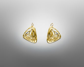 Small Polished Brass Butterfly Earrings / 3D Printed Modern Jewelry