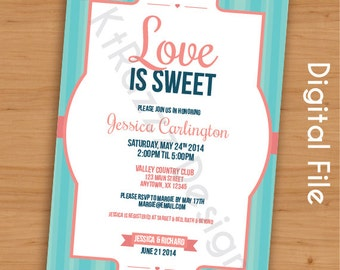 Love is Sweet Bridal Shower Invitation - Customizable - Digital File
