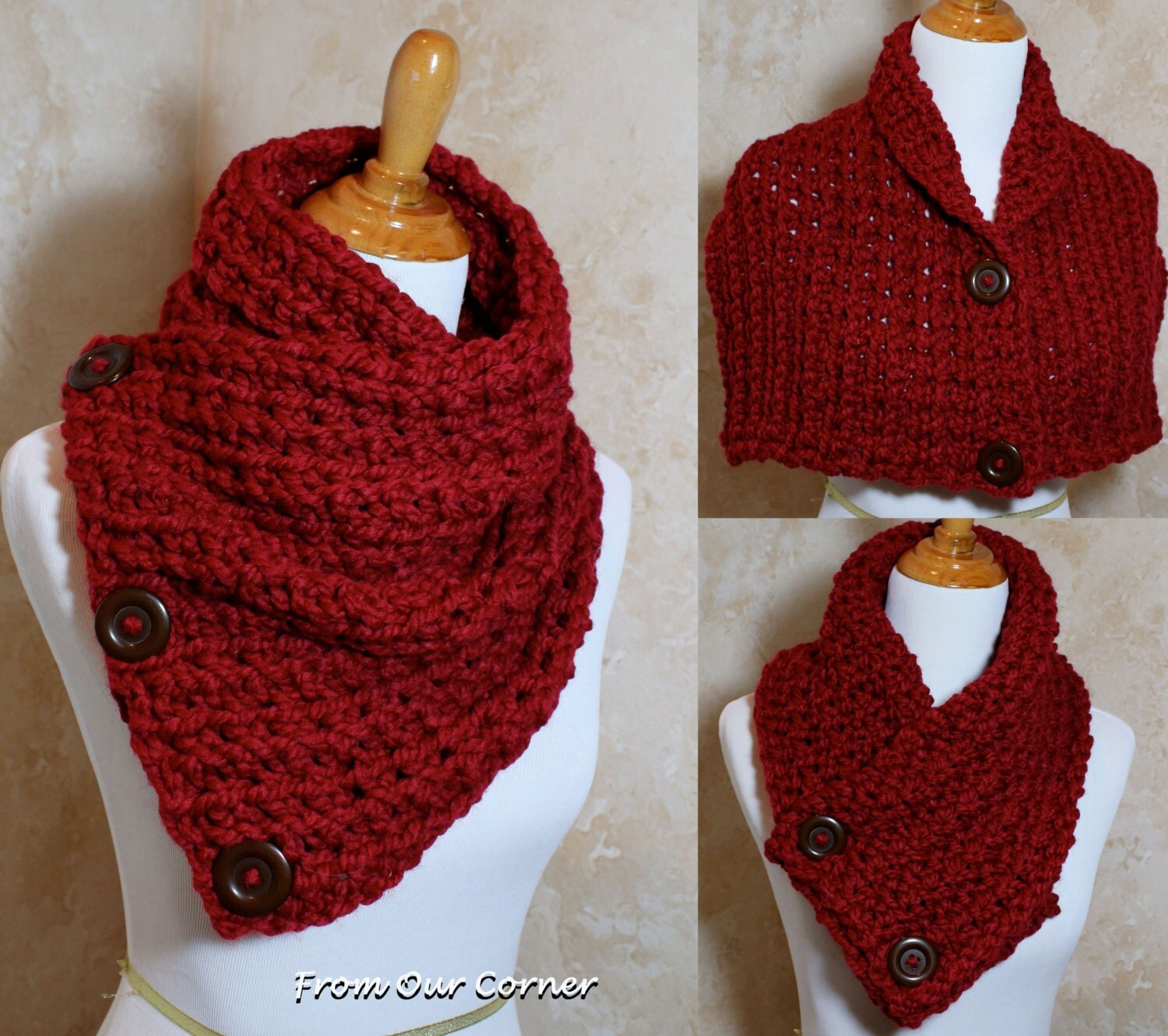 Free Crochet Pattern For Dallas Dream Scarf : Sale.. Mom Gift Crochet Scarf 3 Button by My2ShayFromOurCorner