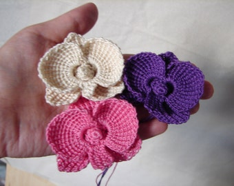 Tiny orchids crochet headband, baby girl headband, tieback with crochet orchid flower, choose your color