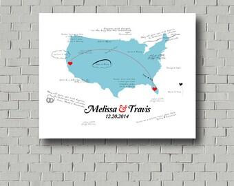 Wedding Guest Book Map Wedding Map, Wedding Gift Wedding Guest Book Alternative, USA Map Guestbook Map, Destination Wedding Travel Theme