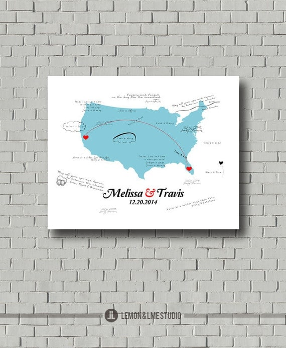 Wedding Gift List Usa : ... USA Map, Alternative Guestbook Map, Wedding Gift, Destination Wedding