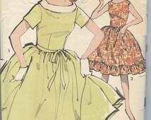 1950s Dress Pattern Vintage Sewing Patterns Advance 2907 Sleeveless Ruffle Full Skirt Party Dress Size 12