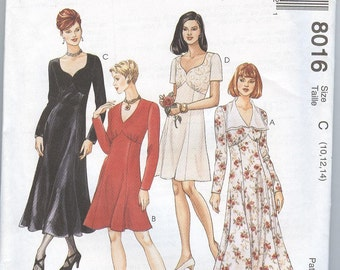 1990s  Dress Pattern McCalls 8016 Empire Dress Princess Seams Low Neckline Womens Sewing Patterns Size 10-14 uncut