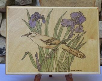 Mockingbird with Iris Woodburning Pyrography