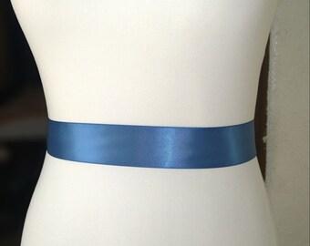 Antique Blue Wedding Sash- 1.5in Simple Satin Sash-Wedding Belt- Bridal Sash-Plain Sash- Simple Belt- Bridesmaid Belt- Plain Belt