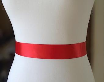 Red Wedding Sash- 1.5 Simple Satin Sash- Wedding Belt- Bridal Belt- Flower Girl Sash- Bridesmaid Sash- Plain Sash- Simple Belt- Bridal Sash