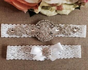 Wedding Garter - Bridal Garter - Crystal Rhinestone Garter and Toss Garter Set on White Lace