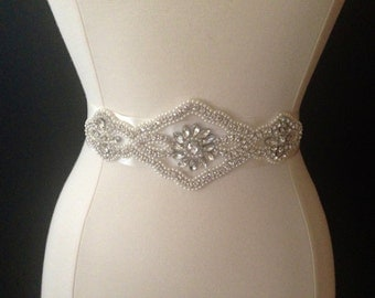 Bridal Sash - Wedding Dress Sash Belt - Rhinestone and Pearl Ivory Wedding Sash - Ivory Rhinestone Bridal Sash