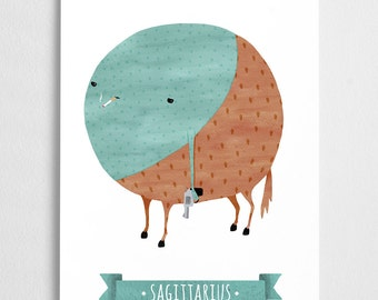 Zodiac art prints, horoscope art, zodiac poster // Sagittarius