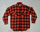 vintage 1930s / 1940s red and black buffalo check plaid wool shirt