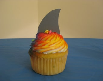 12 Shark Fin Cupcake Toppers
