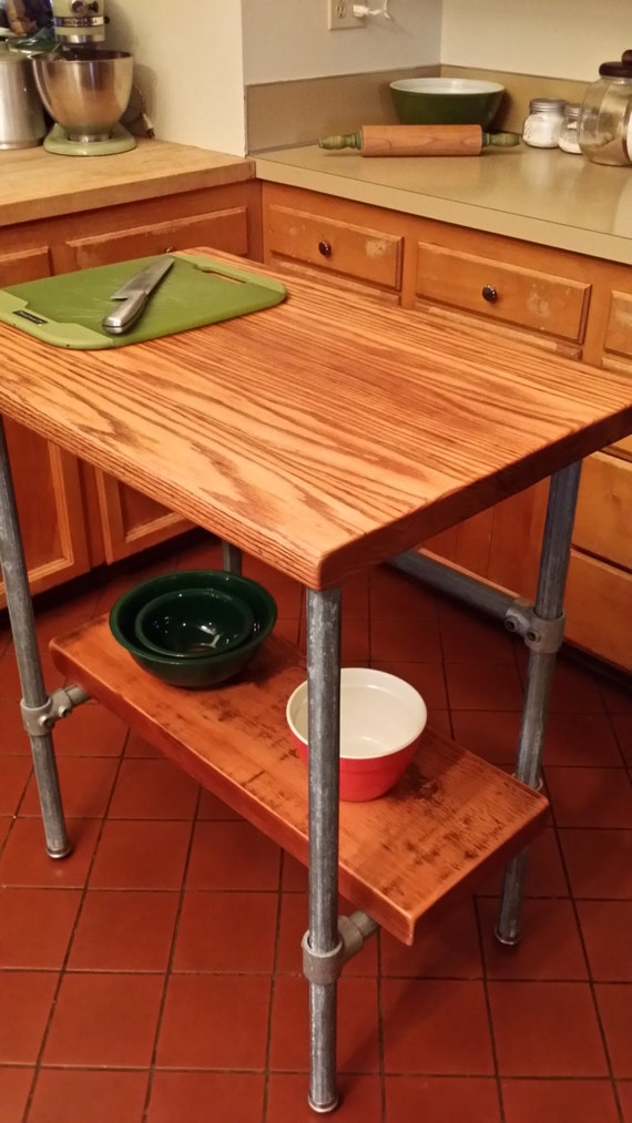 Items similar to kitchen island industrial reclaimed for Diy galvanized pipe table