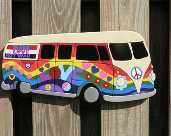 Colorful Hippie Bus Wall Art - Flower Power