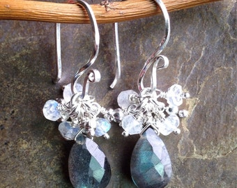 Labradorite moonstone and sterling silver earrings, labradorite earrings, moonstone earrings, sterling silver earrings