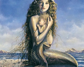 Mermaid Mother and Child by Artist David Delamare (Giclée Prints) Blue colors Beach House Decor, Mother's Day Gift