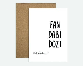 Fan Dabi Dozi!  - Scottish Themed Thank you Greeting Card