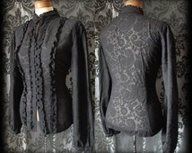 Gothic Black Damask Pattern VICTORIAN GOVERNESS High Neck Blouse 14 16 Steampunk