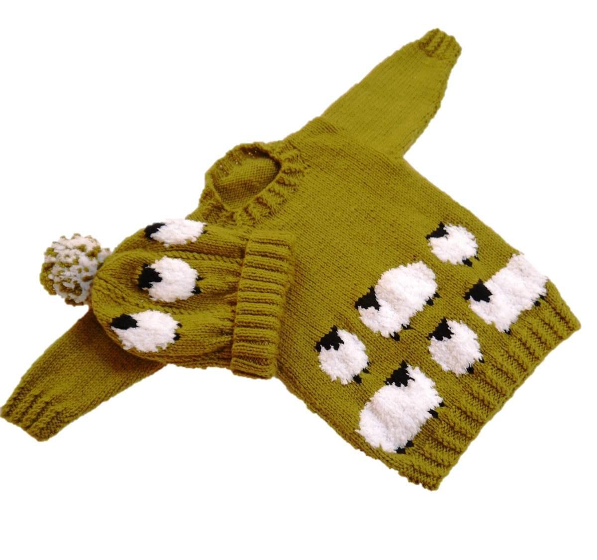 Sheep Child S Sweater And Hat Aran Knitting Pattern