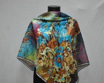 Vintage ABSTRACT FLOWER pattern ladies scarf(516)
