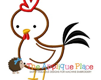 Rooster Machine Embroidery Applique Design