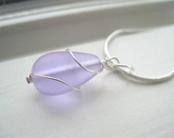 Periwinkle Necklace -  Periwinkle Jewelry - Cultured Sea Glass Jewelry - Wire Wrapped Necklace -  Light Blue Sea Glass - Pendant Necklace