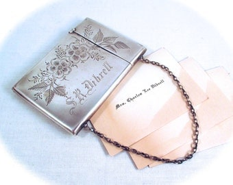 Antique STERLING CARD CASE Holder Whiting Sterling Silver Floral Etched Business Calling Card Case Purse