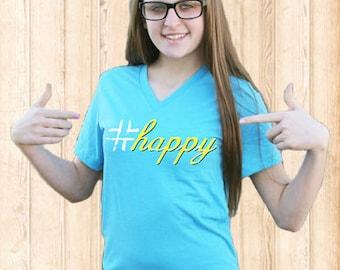 Happy T-Shirt - Aqua Triblend V-Neck Tee * ON SALE *