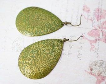 50% OFF Earrings, Olive Green Ornate Embossed Earrings: No E5 1