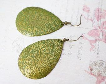50% OFF Earrings, Olive Green Ornate Embossed Earrings: 2