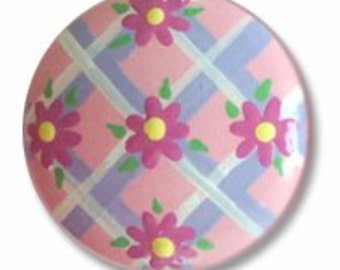 Hand Painted Pink Daisy Lattice Drawer Knobs Nursery Cabinet Pulls