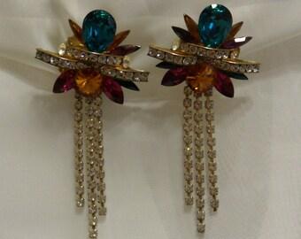 Multi Color Crystal Rhinestone Chandelier Floral Clip ON Earrings Era 1950