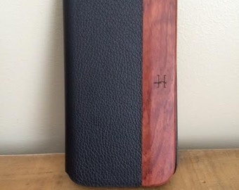 Black Leather Samsung Galaxy S4 Folio Case With Bois De Rose Wood