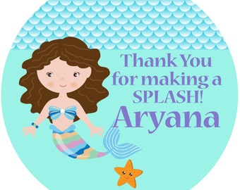 Under the Sea Mermaid Party Personalized Stickers , Party Favor Personalize Labels