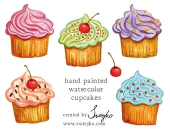 Watercolor Clipart, Cupcakes, Watercolour Cupcakes, Digital Clip Art,m Digital Clipart