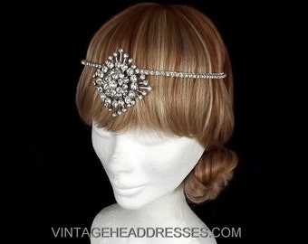 Vintage Art Deco Forehead Band - Gatsby Headpiece - 1920's Flapper Forehead Band - Deco Forehead Band - Bridal Headpiece - Art Deco Wedding