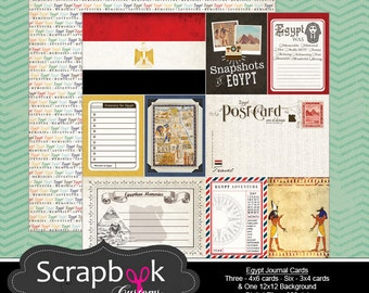 Egypt Journal Cards. Digital Scrapbooking. Project Life. Instant Download.