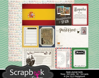 Spain Journal Cards. Digital Scrapbooking. Project Life. Instant Download. United States of America. 4th of July