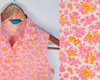 Mid Century Pink and Yellow Cropped Floral Button up Shirt womens size xs Petite girls 16 asian