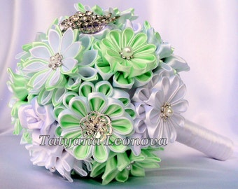 Brooch bouquet, Fabric bouquet, Wedding Bouquet, 5.5 inches