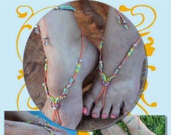 Micro macrame Tutorial -  Barefoot Sandal - DIY - macrame pattern