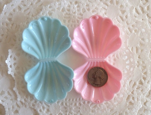 12 Small Plastic Sea Shell Clam Shells Favor By