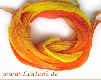 set with 3 silk ribbons crinkle crepe orange yellow