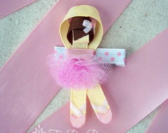 Ballerina Ribbon Sculpture Hair Clip (Choice of 1), Dance Accessory, Glitter, Party Favor